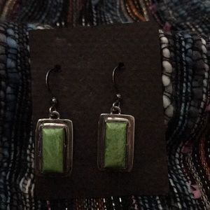 Navajo Gaspeite Sterling Signed Earrings